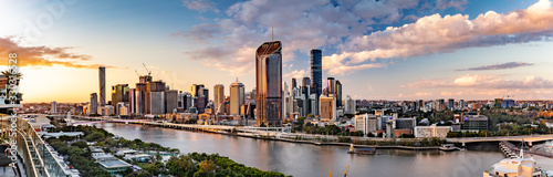 BRISBANE, AUSTRALIA - July 20 2019: Night time areal image of Brisbane CBD and South Bank.