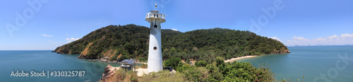 Part of the panoramic image of Ko Lanta National Park, Krabi, Thailand with lighthouses and two adjacent beaches Wallpaper Mural