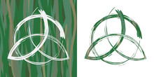 Two Options Of Celtic Pagan Symbol Triquetra On Grass Background