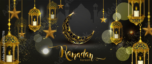 Photo Ramadan Kareem with crescent moon gold luxurious crescent,template islamic ornat