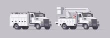 Vector Utility Truck. Isolated Aerial Bucket Truck. Cherry Picker. Box Service Truck