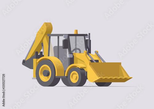 Vector backhoe loader. Isolated tactor excavator. Illustration Canvas Print