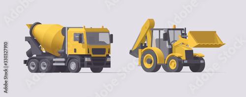 Vector concrete cement mixer truck & backhoe loader set Canvas Print