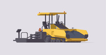 Vector Asphalt Paver. Isolated Road Compactor. Illustration