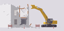 Demolition Of Old Building. Vector Demolition Excavator. Isolated Illustration