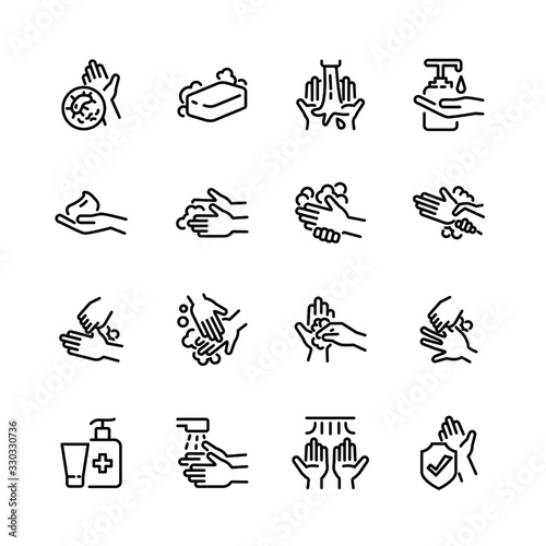 Obraz Hygiene thin line icon set 3, vector eps10. - fototapety do salonu