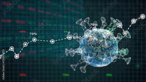 Fototapeta Analysis graphs and reports numbers about a pandemic virus crisis. obraz
