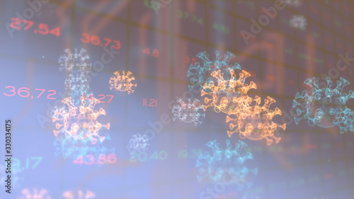 Global stock market indicators changing chaoticly over dark gridded background Canvas Print
