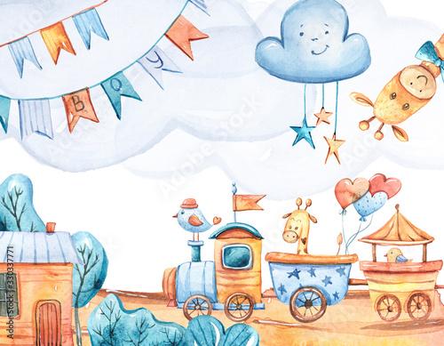 akwarela-recznie-malowane-ilustracja-kreskowka-zyrafy-chmury-dom-lokomotywa-balony-fantazi-ilustracja-na-bialym-odosobnionym-tle-to-clipart-chlopca