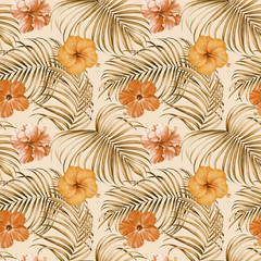 FototapetaSeamless pattern with tropical branches and hibiscus flowers. Hand drawn watercolor illustration.