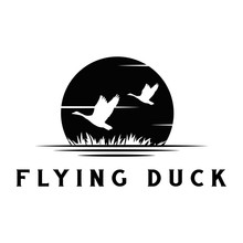 Silhouette Of Flying Duck With...