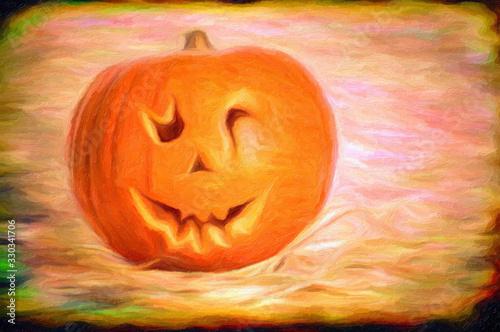 Impressionnisme grunge. Citrouille d'Halloween Wallpaper Mural
