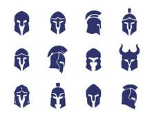 Helmets Set, Spartan, Greek And Roman, Gladiator Helmet