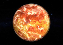Fiction Red Surface Planet In Dark Outer Space