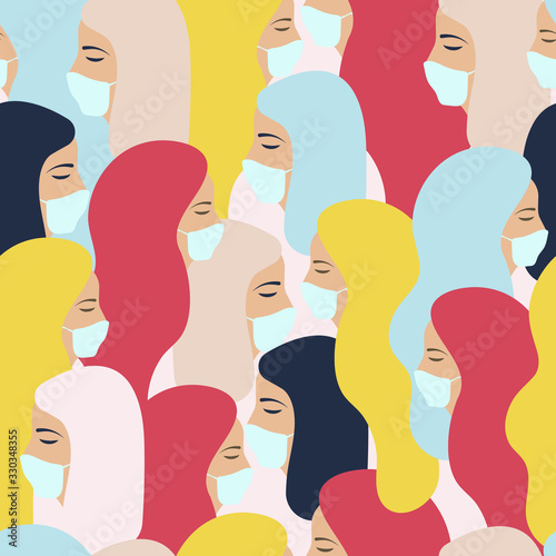 Fototapety, obrazy: COVID-19. Coronavirus.  Health promotion. Vector seamless pattern, banner concept. Womans in medical masks.