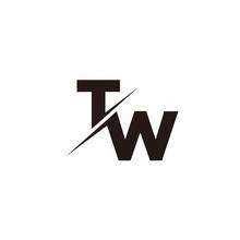 Logo Monogram Slash Concept With Modern Designs Template Letter TW