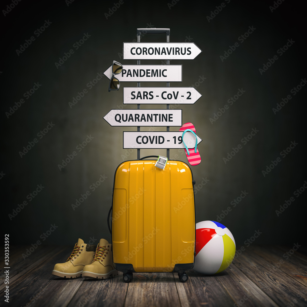 Fototapeta Coronavirus crisis in travel and tourism industry concept.  Suitcase and arrows with  travel directions closed due to pandemic.