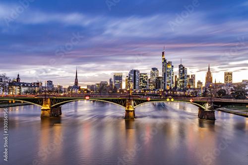 Sonnenuntergang über Frankfurt Skyline Poster Mural XXL