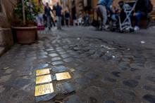 Stolpersteine In Jewish Ghetto, Rome, Italy