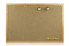 Blank Of Cork-board With Wooden Frame Is Isolated On White Background With Clipping Path.
