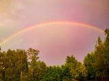 Fototapeta Tęcza - Tęcza na pochmurnym niebie
