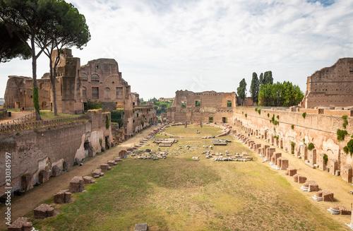 Fototapeta The garden or stadium of Domitian Imperial palace (Stadio di Domiziano, aka Circ