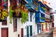 canvas print picture - Beautiful colorful floral streets with traditional balconies of Santa Cruz de la Palma - capital of La Palma island, Canary islands of Spain
