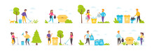 Garbage Collection Set With People Characters In Various Scenes And Situations. Volunteers Picking Up Waste In Containers For Recycling. Bundle Of Ecology And Environment Care In Flat Style.
