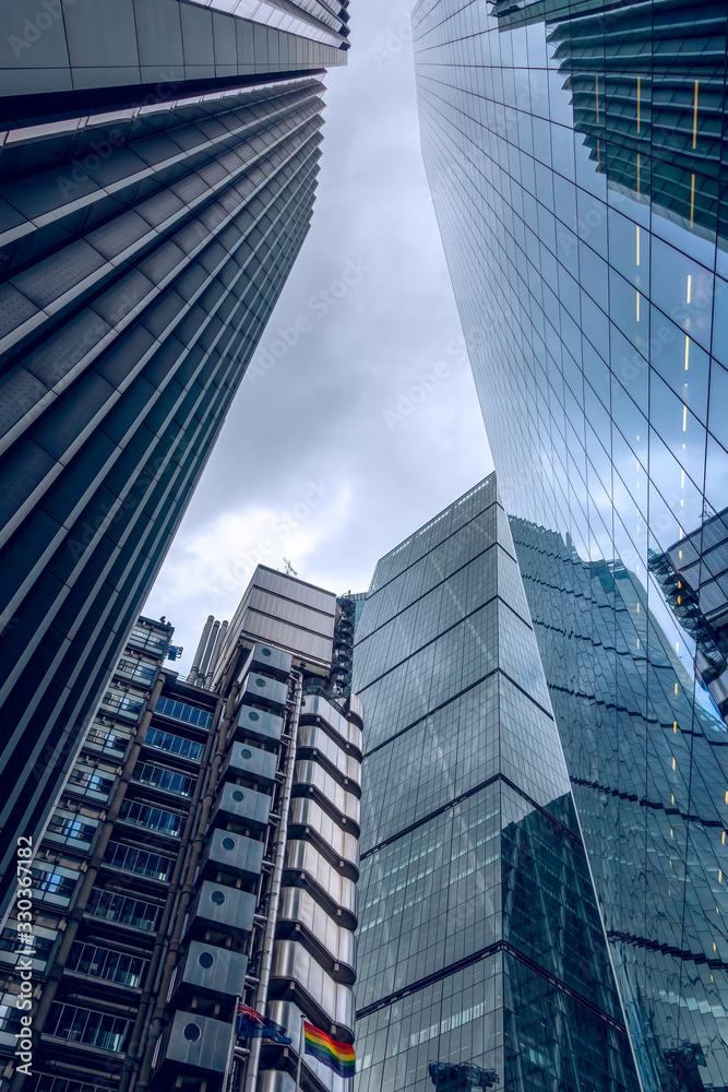 Fototapeta View of London's financial district skyscrapers from below