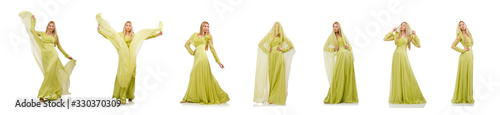 Photo The young woman in elegant long green dress isolated on white