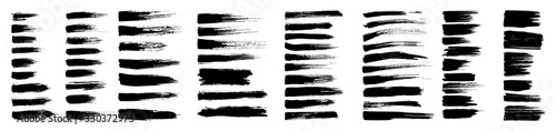 Fototapeta Brush strokes, black ink lines, vector abstract set with paint brush grunge texture on white background