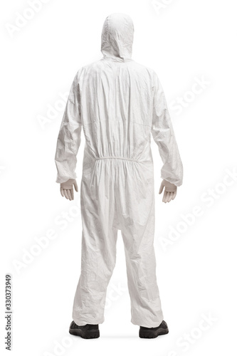 Man in a white decontamination suit Wall mural