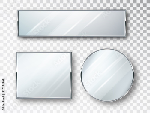 Mirrors set of different shapes isolated. Mirror frames or mirror decor interior vector illustration.