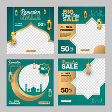 Ramadan Sale Banner Template. With Ornament Moon, Mosque, And Lantern Background. Suitable For Social Media Post, Instagram And Web Internet Ads. Vector Illustration With Photo College