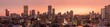 Leinwandbild Motiv A beautiful and dramatic panoramic photograph of the Johannesburg city skyline, taken on a golden evening after sunset.