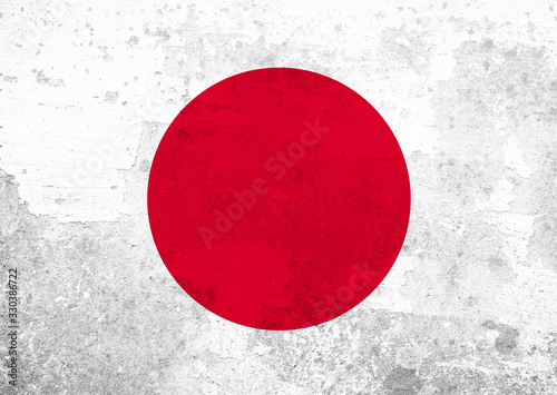 Japanese flag with grunge texture. #330386722
