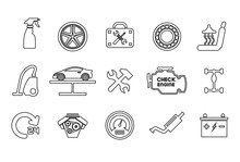 Vector Line Icons With Open Path Car Service, Auto Repair And Transport With Elements For Mobile Concepts And Web Apps. Collection Modern Infographic Logo And Pictogram.