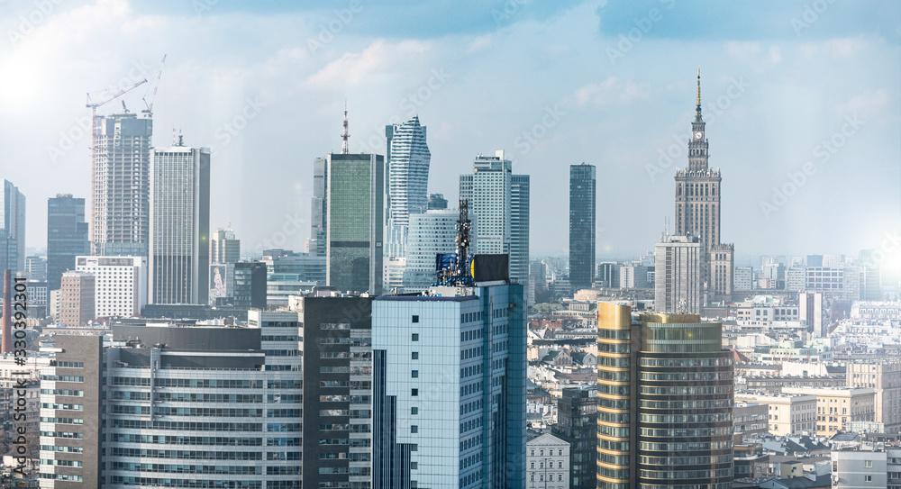 Fototapeta Warszawa- Panorama Miasta,  biurowce
