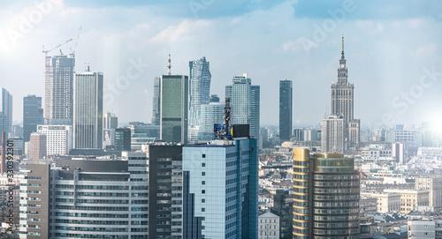 Fototapeta Warszawa- Panorama Miasta,  biurowce  obraz