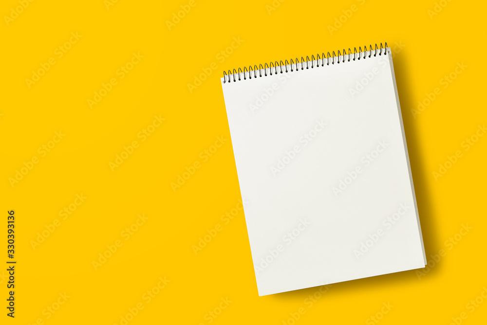 Fototapeta blank paper on yellow background
