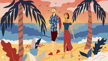 Dating Concept. Couple In Love Is Walking On The Coast. People Communicate, Enjoying Spending Time Together. Beautiful Sunset On The Palm Beach By The Sea. Cartoon Flat Style. Vector Illustration