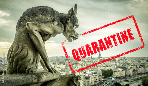 obraz PCV COVID-19 coronavirus in France, stamp Quarantine in photo of Notre Dame gargoyle in Paris. French tourist attractions closed due to novel corona virus outbreak.
