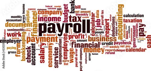 Payroll word cloud Wallpaper Mural