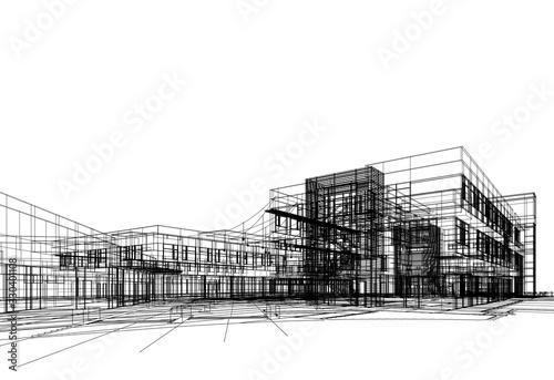 Fototapeta  architectural drawing 3d illustration obraz