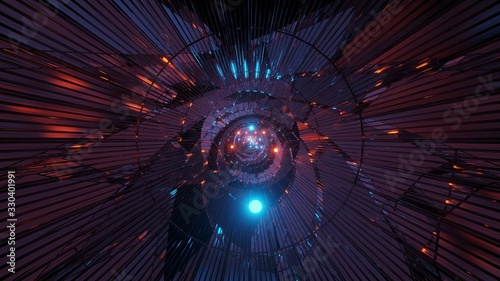 Futuristic abstract composed of lines and orbs and neon lights on a dark backgro Fototapete