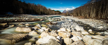 River In Mountains In Winter ,...