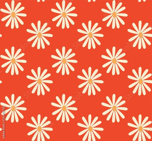 red and mustard 1970's groovy vintage retro floral daisies seamless vector patte Wallpaper Mural