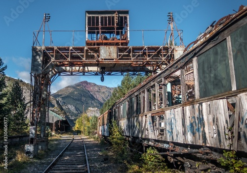 Closeup shot of an abandoned old railway station in Canfranc Spain under a blue clear sky