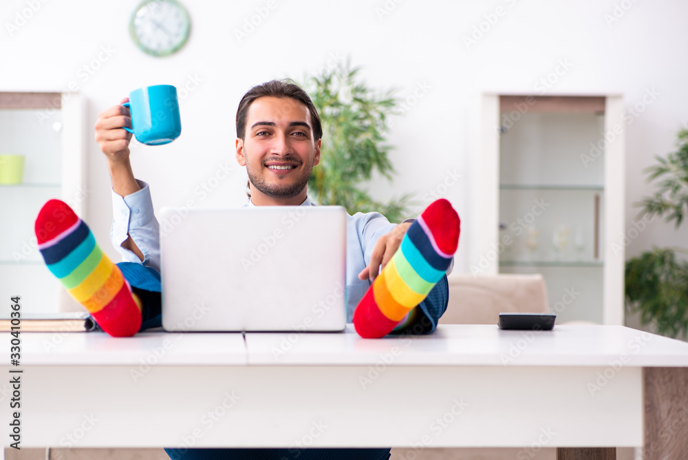 Fototapeta Young male businessman working at home