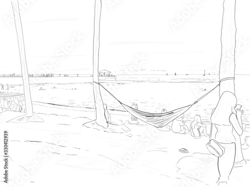 Hand drawn illustration. A hammock in use on the beach at Waikiki Beach in Honolulu, Hawaii.